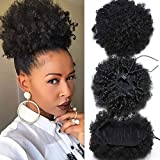 Rebeauty Afro Kinky Curly Synthetic Puff Ponytail for Women, Hairpieces Curly Donut Chignon Wrap with Drawstrings and 2 Clips Medium Size Updo Hair Extensions Natural Black Color