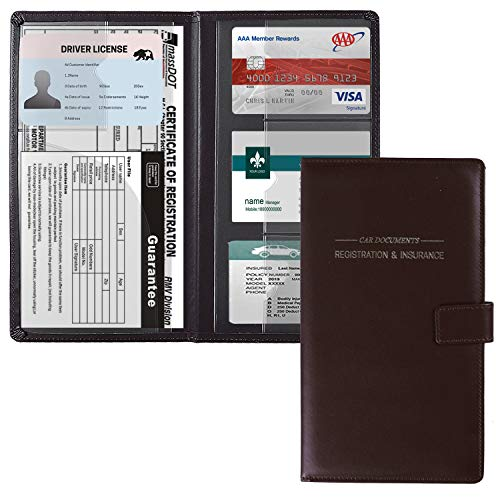 GNEGNI Leather Car Registration and Insurance Card Holder, Auto Truck Document Holder Vehicle Glove Box Paperwork Organizer Wallet with Magnetic Closure for License, Cards & Essential Documents