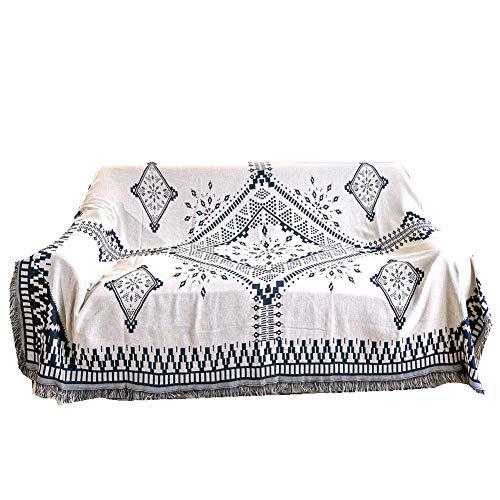 Jadpes Sofadeken Dubbel geweven katoen, 130 x 180 cm dubbelzijdige katoenen bank sprei met decoratieve kwasten voor bank, bed, sofa Ultra
