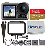 DJI Osmo Action 4K Camera + Extreme 128GB microSDXC Memory Card + Brown Spike Mount + Photo4Less Camera and Lens Cleaning Cloth – Ultimate Accessory Bundle