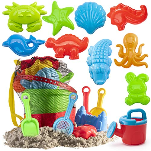 Prextex 19 Piece Beach Toys Sand Toys Set  Bucket with Sifter  Shovels  Rakes  Watering Can  Animal and Castle Molds in Drawstring Bag