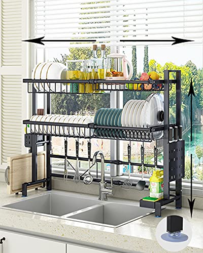 Over The Sink Dish Drying Rack,2 Tier Large Storage Adjustable Height and Width Kitchen Dish Drying Rack ,Expandable Stainless Steel Sink Rack Organizer Set(H:27.5-31.88inch;W:24.40-38.18inch)