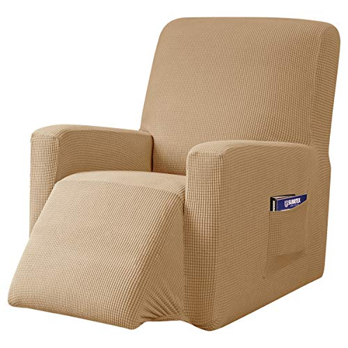 subrtex Recliner Chair Cover Stretch Recliner Slipcover Lazy Boy Covers for Furniture Protector Rocker Sofa Cover with Side Pocket (Recliner, Khaki) -  SBTZHS022