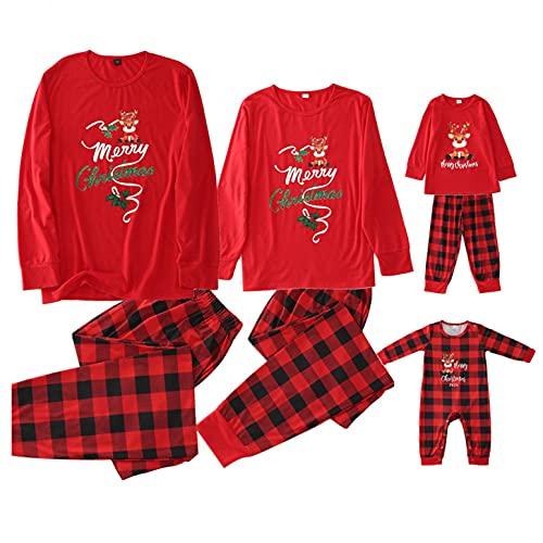 Alueeu Pijamas a Juego con la Familia Duende Navideño para Niños Niñas Hombre Mujer Manga Largo+ Pantalones Ropa de Dormir Traje Casual Homewear