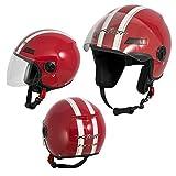 A-Pro Motorradhelm Motorrad Roller Offenes Jet Helm Viser ECE 22 05 Rot M