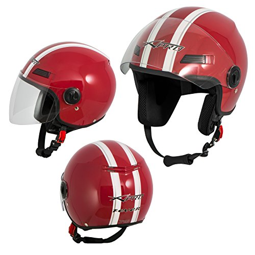 Motorradhelm Motorrad Roller Offenes Jet Helm Viser ECE 22 05 Rot L