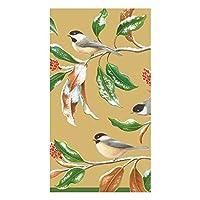 Caspari Chickadee and Magnolia ペーパーナプキン ゴールド Guest Towel ゴールド 14830Gx2