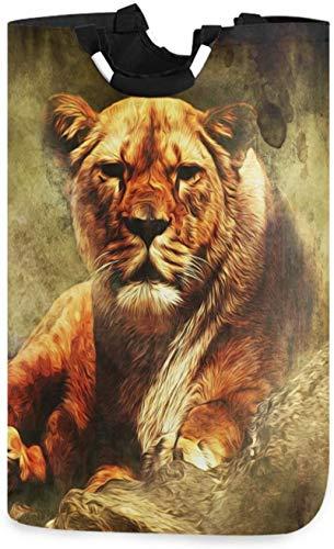 LYSOZ Tigre de lavandería Scary Animal Tiger lavandería Cesto de la vendimia cesta grande de la caja de almacenamiento impermeable for llevar Fácil Familia habitación compartida de lavandería cestas d