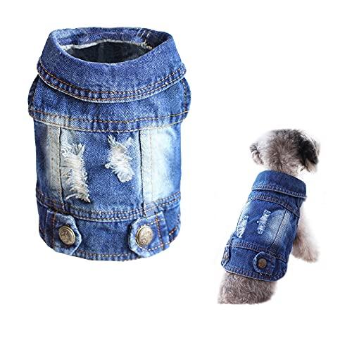 SILD Cool Vintage Denim Lavato Giacca Tuta Blu Jean Abiti per Piccoli Animali Cane Gatto/6Stili XS-XXL (XS)