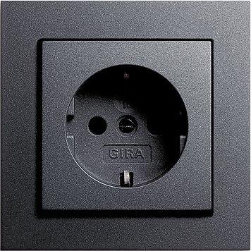 GIRA E2 anthrazit (1x Steckdose m. Kinderschutz, 1x Rahmen 1fach)