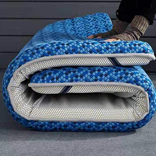 FF Latex traagschuim matras, Tatami vloer matras, gewatteerde gevoerde quilt Futon mat blauw ademend slip-resistente 90x200x10 cm