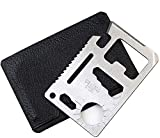 Multi Survival Tool, 11 in 1 Stainless Steel Credit Card Survival Tool for Can and Beer Bottle Opener DIY Screwdriver Blades Knife Keychain Camping