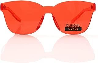 Oversized Square Rimless Sunglasses Tinted Unisex Women Men One Piece colored Transparent Eyewear Retro Eyeglasses