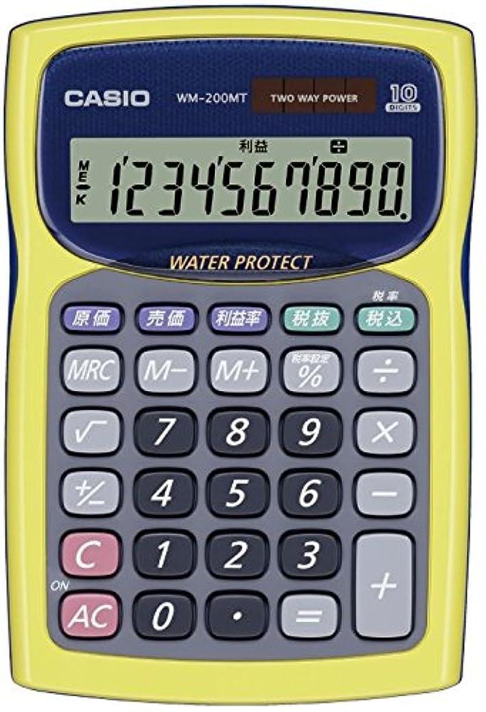 前投薬批判必要とするカシオ 防水?防塵電卓 ミニジャストタイプ 10桁 WM-200MT-YW-N イエロー