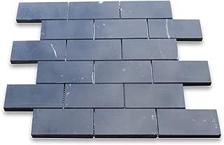 Nero Marquina Black Marble Subway Brick Mosaic Tile 2 x 4 Honed