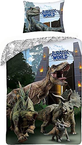 Halantex Jurassic World T-Rex - Biancheria da letto per bambini 140 x 200 + 70 x 90 cm, in cotone originale JW-259BL