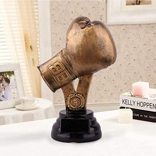 Statues Sculpture Europe Resin Gold Boxing Gloves Model Sports Trophy...