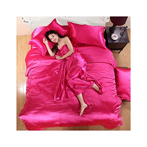 haleysmall Pure Satin Silk Bedding Set,Home Textile King...