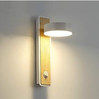 Lámpara de pared LED Aplique de pared Interior Madera Bañadores de pared para Dormitorio Sala de estar Pasillo de Oficina,350°Giratorio (Blanco)