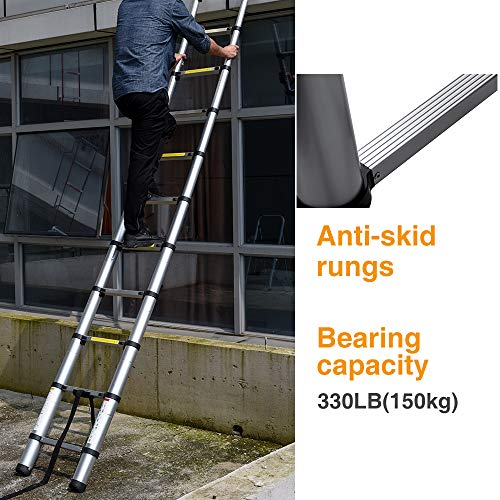 DELXO 12.5 FT Aluminum Telescoping Extension Ladder EN131 Certified Extendable Ladder Telescoic Ladder with Finger Protection Spacers Non-Slip, 330 lb Max Capacity