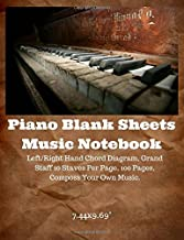 Piano Blank Sheet Music Notebook: Grand Staff 8 Staves Per Page, 130 Pages, Left / Right Hand Chart Per Page, Chord Chart, Musicians Notebook (Vintage Piano)