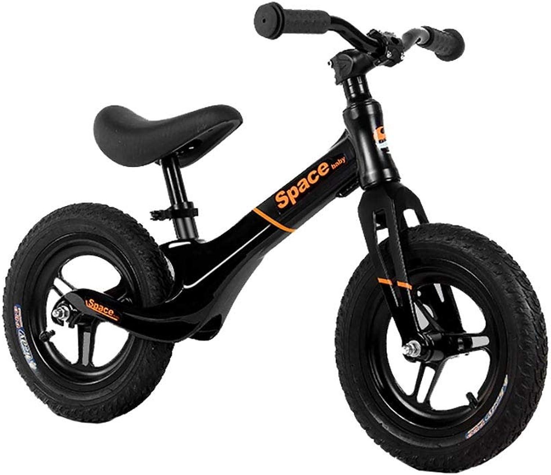 Balance Bike YXX Black with Adjustable Seat, Lightweight Push for Girl Boy Kids Toddlers