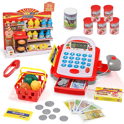 Geyiie Toy Cash Register for Kids, Pretend Play Educational Toy with Scanner, Sound, Music, Calculator, Play Money and Grocery Toy for Kids, Best Gift for Toddlers and Preschoolers