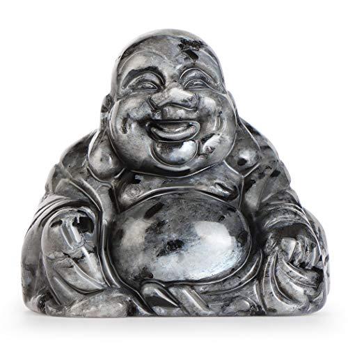 Artistone 2.0' Buddha Statue, Larvikite Healing Crystal Hand-Carved Gemstone Crystal Religion Sitting Buddha Figurine Statue with Gift Box