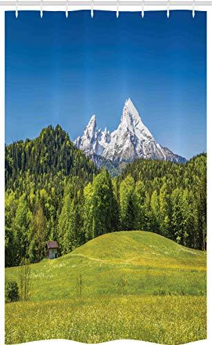 ABAKUHAUS Duitsland Douchegordijn, Beierse Alpen Village, voor Douchecabine Stoffen Badkamer Decoratie Set met Ophangringen, 120 x 180 cm, Forest Green Fern Green
