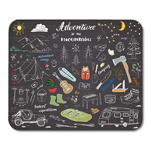 AOHOT Mauspads Camping Hiking Sketch Doodle Mountains Tent Raft Grill and Campfire Axe Knife Pine Trees Tourist Food Mouse pad Mats 9.5