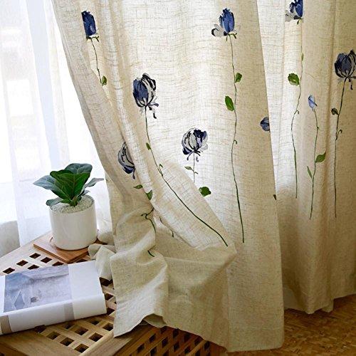 Rideaux et drapés - Fleurs et papillons - Cannabis - Pour traitement de fenêtre - Produit fini - Pour salon - Œillets - 1 panneau - Fleurs - 200 x 260 cm