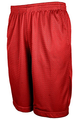 OLLIE ARNES Gym Shorts for Men, Basic Active Athletic Dazzle Mesh Short with Pockets MESH_RED 4XL