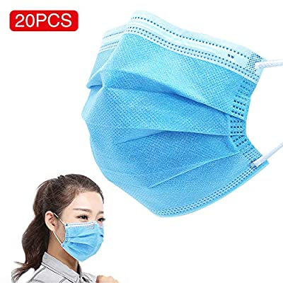 AugeCase 20 Pack Disposable Face Mask 3-Layer Great Mask for Daily use for Your Family Wearing Cover