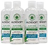 AloeSoft Hand Sanitizer I 8oz Bottle I Pack of 4 I Made in USA I 70% Alcohol I 15% High Content Organic Aloe Vera Moisturizing Gel for Soft Hands with Vitamin E