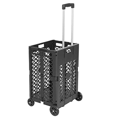 4 Wheels Mesh Rolling Utility Cart, Folding and...