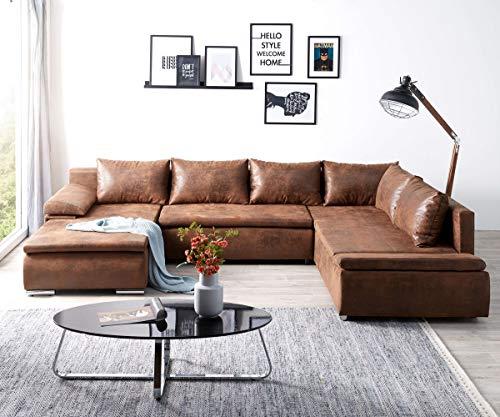DELIFE Couch Abilene Braun 330x230 cm Ottomane variabel Schlaffunktion Wohnlandschaft