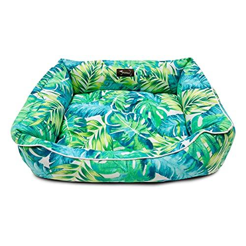 MEISHIDA Cama para Perros Super Suave Cómoda, Cama Perros Transpirable con Cojín Rellena de Fibra Hueca (Verde, Large - 79 x 59 x 20 cm)