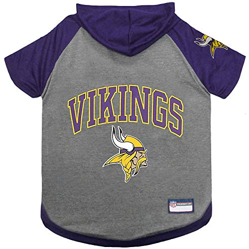 NFL Minnesota Vikings Hoodie for Dogs & Cats. | NFL Football Licensed Dog Hoody Tee Shirt, Small| Sports Hoody T-Shirt for Pets | Licensed Sporty Dog Shirt