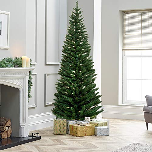 TrendMakers 7ft Green Pine Pencil Slim Artificial Christmas Tree   820 Branch Tips   With Metal Stand