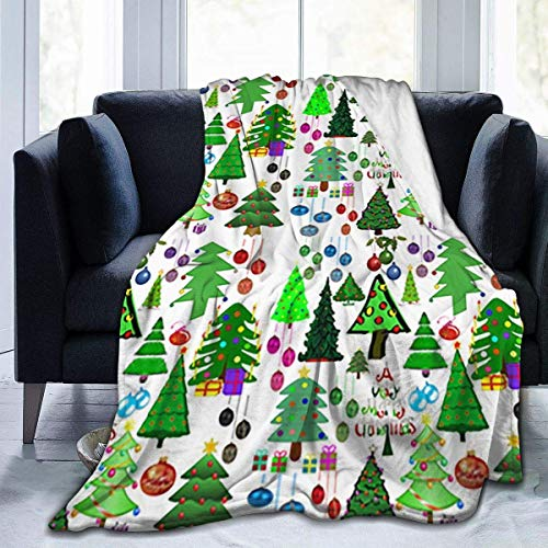 Hoswee Kuscheldecken,Überwürfe Ultra-Soft Fleecedecke Cute Christmas Tree Decke Warm Lightweight Microfiber Bed Blanket for Office Sofa Living Room - All Season Premium Bed Blanket 80 X 60 Inches