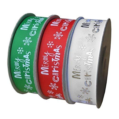 Lazo De Cinta Cinta De Regalo Cinta De Embalaje 25 Mm Carta De Navidad Cinta Festiva De Navidad Acanalada-Tres Paquetes