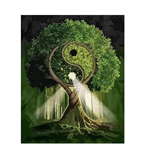 XIXISA Unframe DIY Malen nach Zahlen Kit Landschaft Baum Moderne Malerei & Kalligraphie Bild nach Zahlen für Wohnkultur 40x50cm