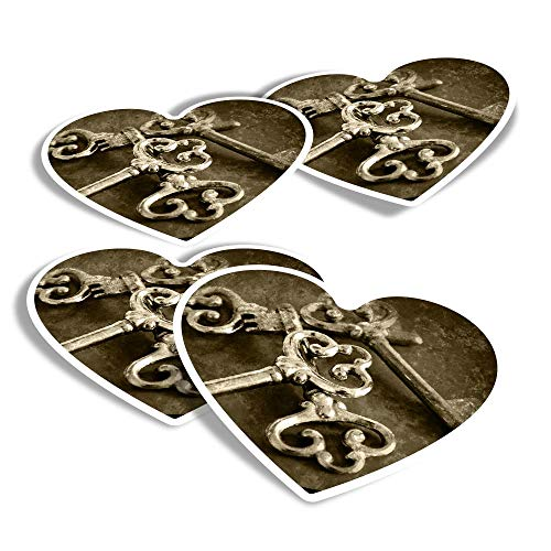 Pegatinas de vinilo con forma de corazón (juego de 4) – Vintage Keys Secret Lock House divertidos adhesivos para ordenadores portátiles, tabletas, equipaje, reserva de chatarra, frigoríficos #21548