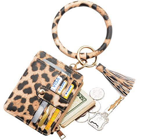 COOLANS Wristlet Bracelet Keychain Card Holder Card Pocket PU Leather Purse Tassel Keychain Bangle Key Ring for Women Girls (Card & Id Holder Purse 12 Leopard)