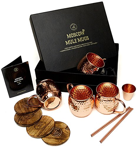 Moscow Mule Copper Mugs Set - 4 Authentic Handcrafted Copper Mugs (16 oz.) with 2 oz. Shot Glass, 4 Straws, 4 Solid Wood Coasters and Recipe Book - Gift Box Included