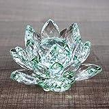 HUANSUN Crystal Lotus Flower Crafts Glass Fengshui Adornos Figurines Home Wedding Party Decor Regalos Souvenir, Verde, 60mm