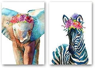 Baby Zebra, Baby Elephant Set of 2 Art Prints, Wall Decor Poster by Cheryl Casey Art - watercolor print, safari animal, flower crown