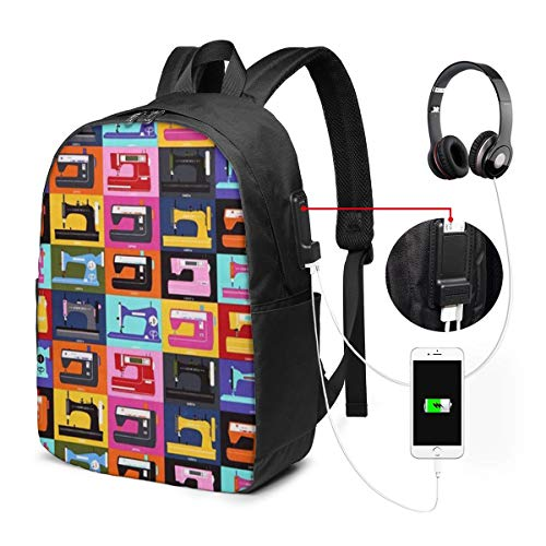 Sewing Machine Hard USB Backpack 17 Inches High-Capacity for Working