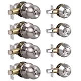 4 Pack Keyed Alike Entry Door Knobs and Single Cylinder Deadbolt Lock Combo Set Security for Entrance and Front Door with Classic Satin Nickel Finish