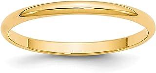 14ct oro Amarillo 2mm Ltw mitad Ronda Band Ring–Anillo Tamaño opciones gama: H a Z